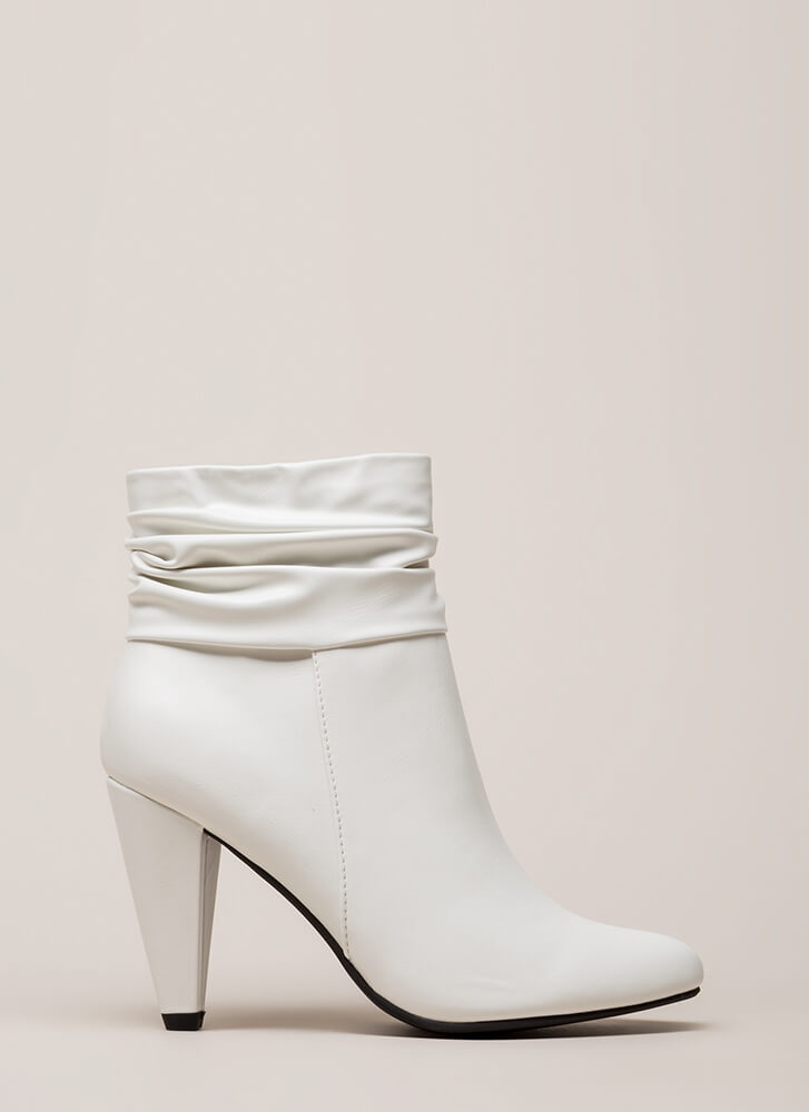 Slouchy Statement Cone Heel Booties WHITE (Final Sale)