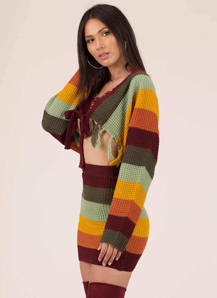 I Can't Miss Striped Knit 2-Piece Dress MULTI (You Saved $49)