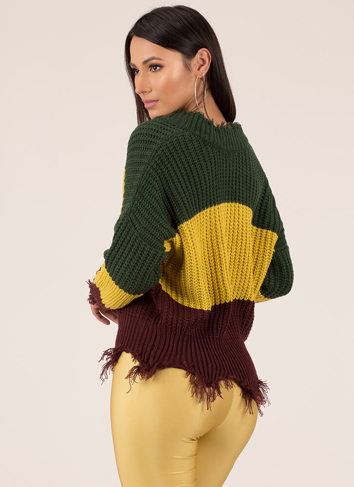 Knit Pick Fringed Colorblock Sweater MULTI (You Saved $23)