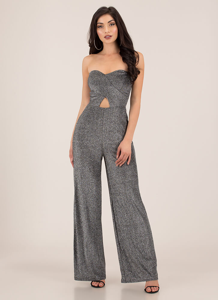 Glitter Girl Strapless Palazzo Jumpsuit SILVER