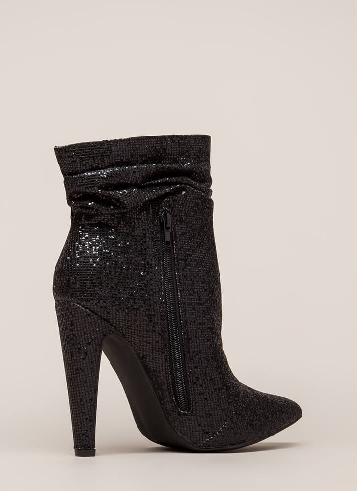 All Night Sparkle Pointy Slouchy Booties BLACK