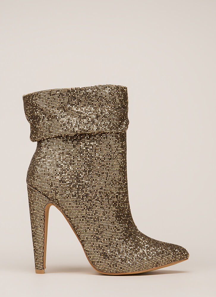 All Night Sparkle Pointy Slouchy Booties GOLD