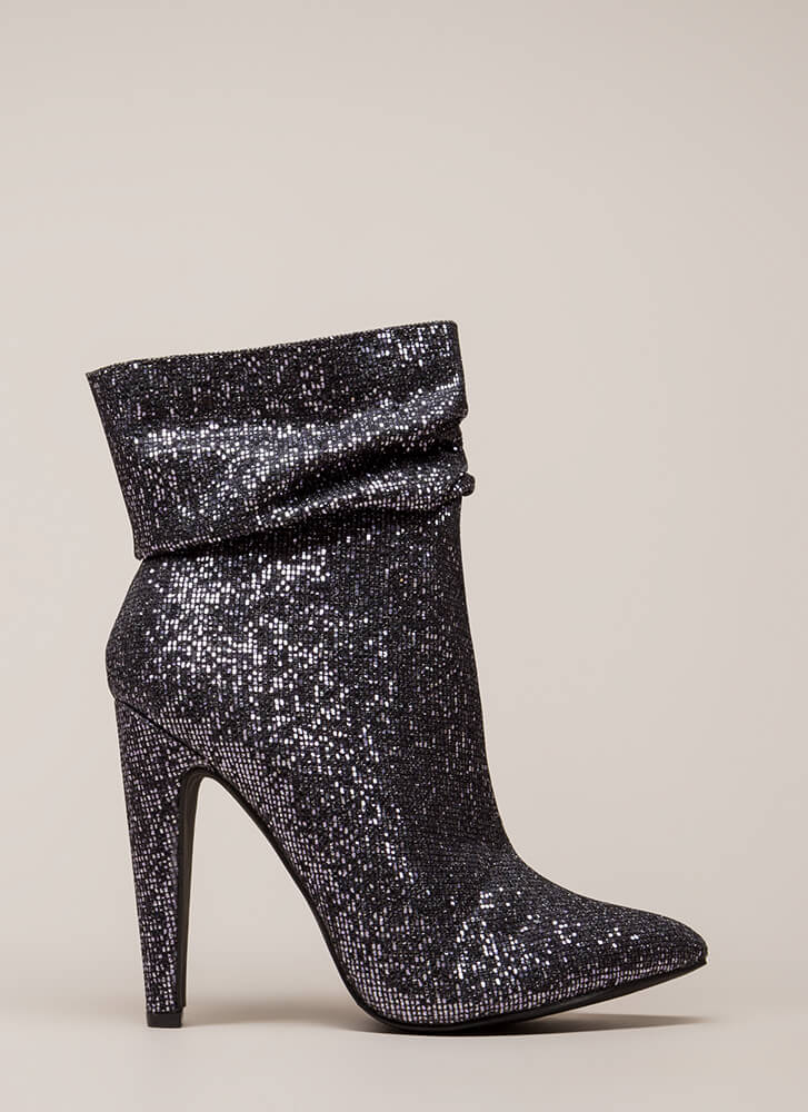 All Night Sparkle Pointy Slouchy Booties PEWTER