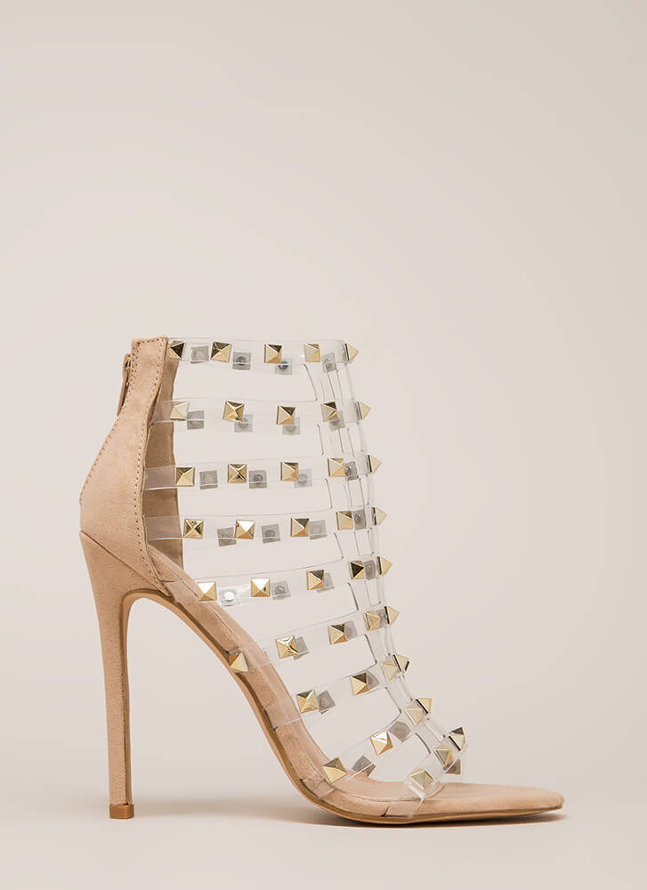 Clearly A Stud Caged Faux Suede Heels NUDE