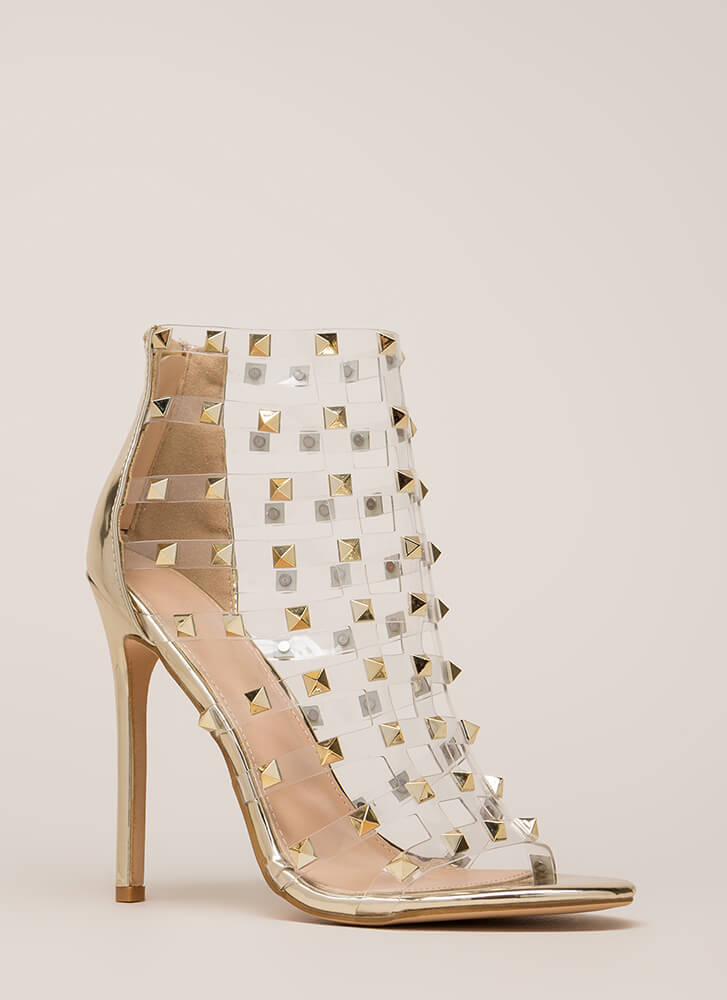 Clearly A Stud Caged Metallic Heels GOLD (You Saved $29)
