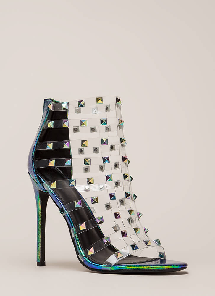 Clearly A Stud Caged Holographic Heels GREEN
