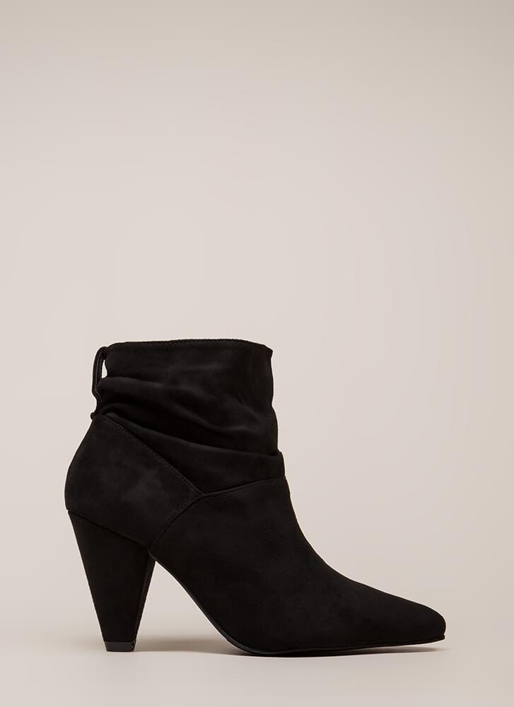 Too Chic Slouchy Cone Heel Booties BLACK