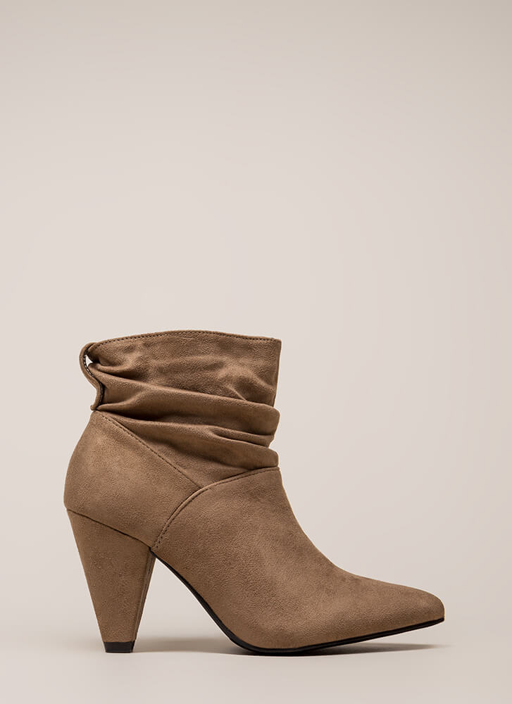 Too Chic Slouchy Cone Heel Booties TAUPE
