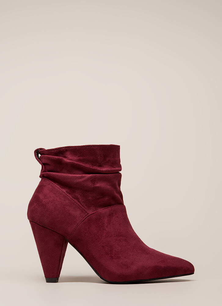 Too Chic Slouchy Cone Heel Booties WINE