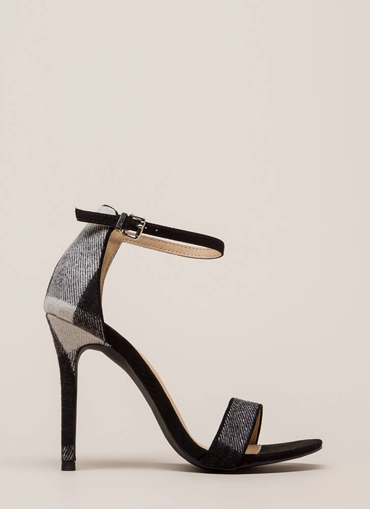 Flannel Weather Plaid Ankle Strap Heels BLACK