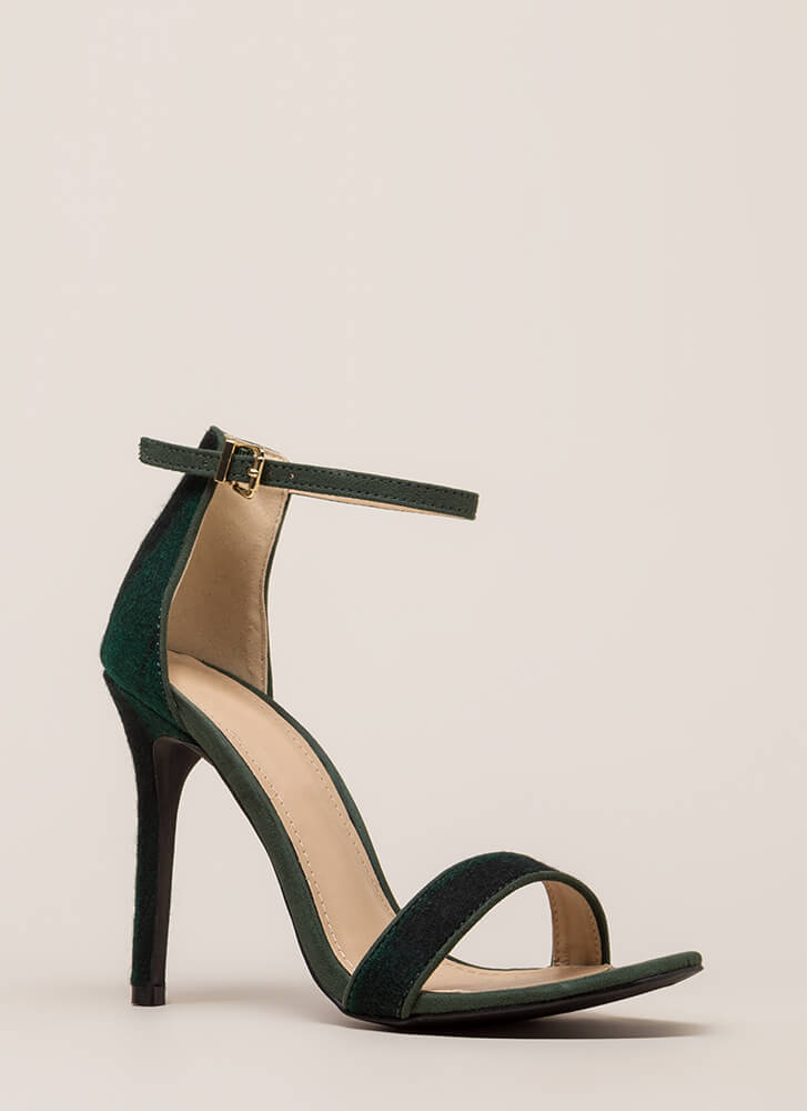 Flannel Weather Plaid Ankle Strap Heels OLIVE