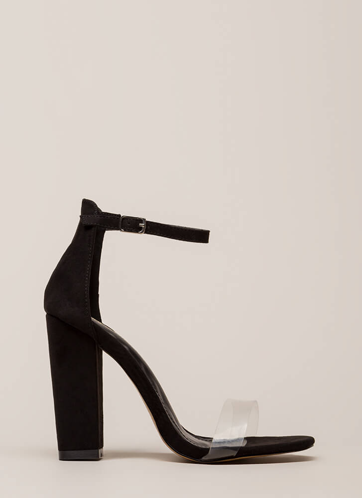 Clear My Head Chunky Ankle Strap Heels BLACK