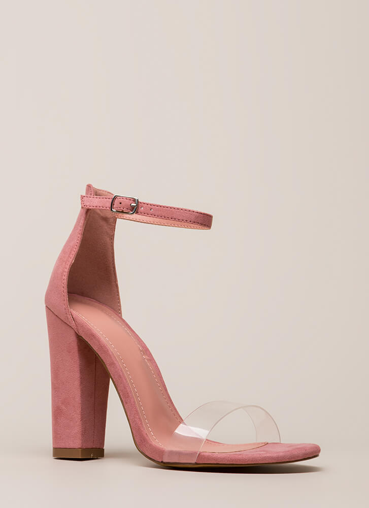 Clear My Head Chunky Ankle Strap Heels MAUVE