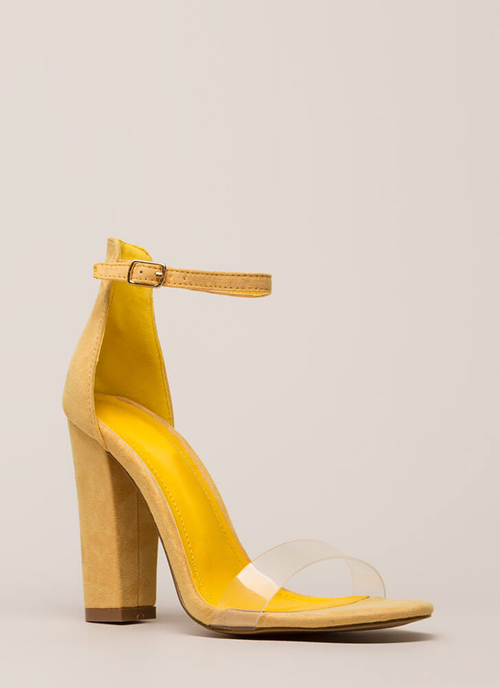 Clear My Head Chunky Ankle Strap Heels MUSTARD