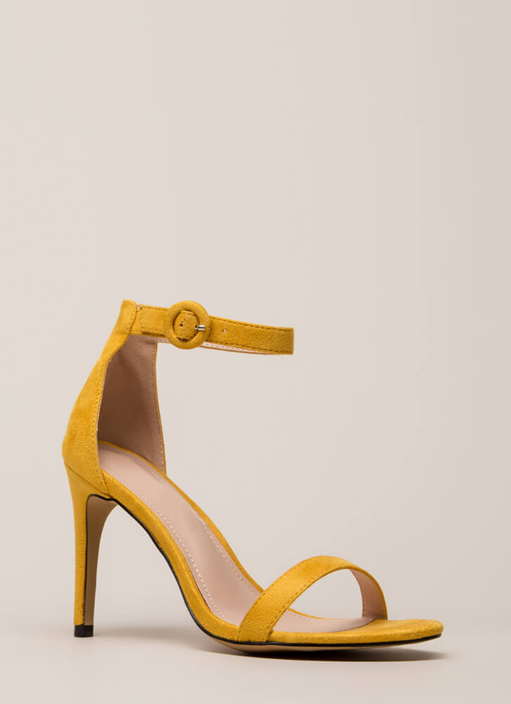 Always And Forever Ankle Strap Heels MUSTARD