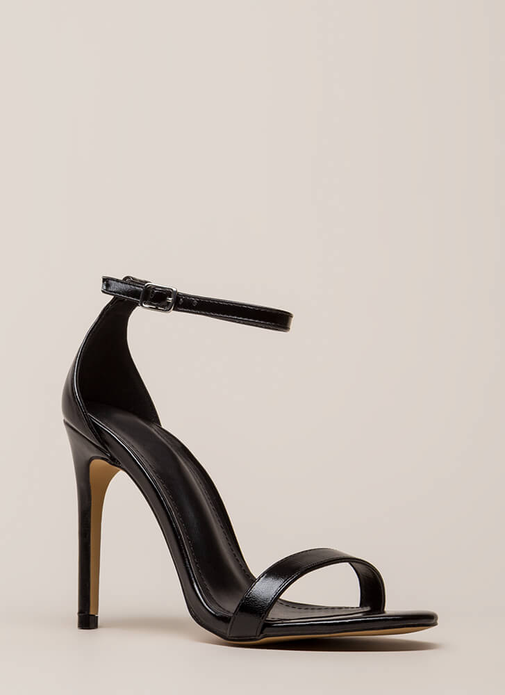 Right Path Skinny Ankle Strap Heels BLACK (Final Sale)