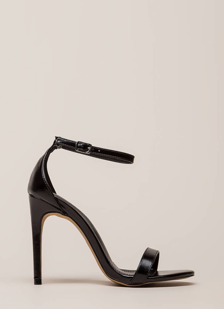 Right Path Skinny Ankle Strap Heels BLACK