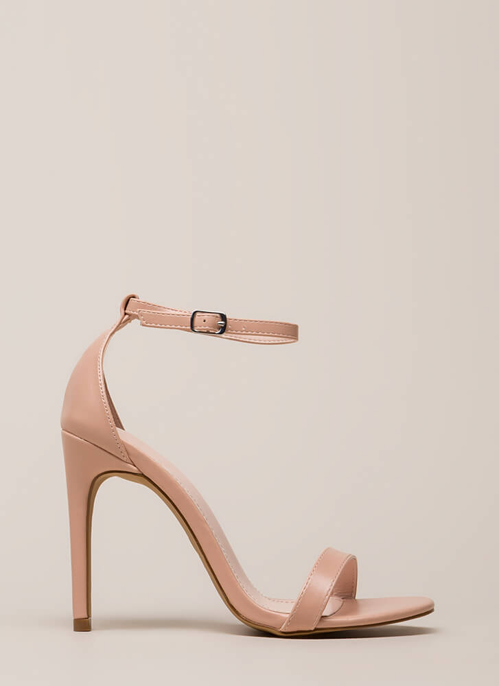 Right Path Skinny Ankle Strap Heels NUDE