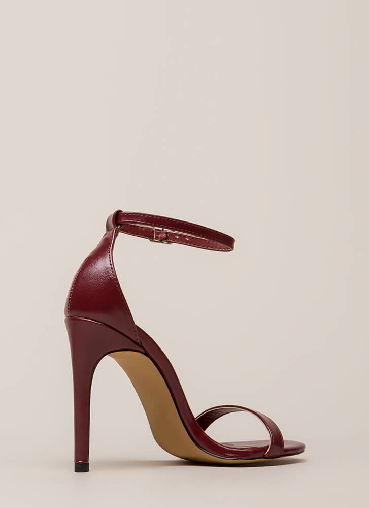 Right Path Skinny Ankle Strap Heels WINE