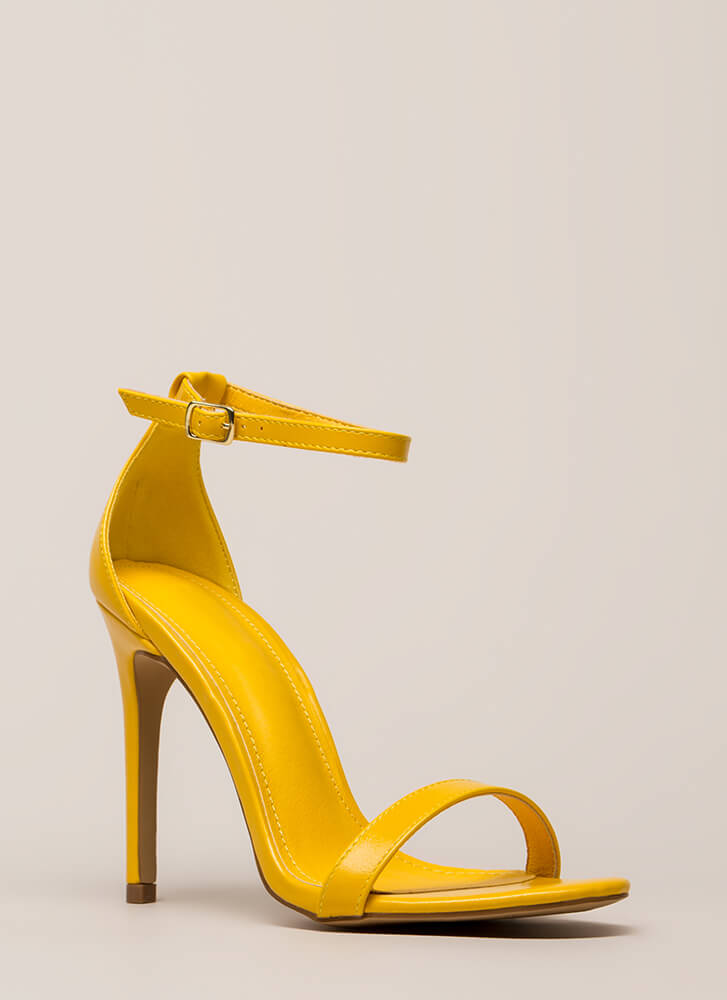 Right Path Skinny Ankle Strap Heels YELLOW