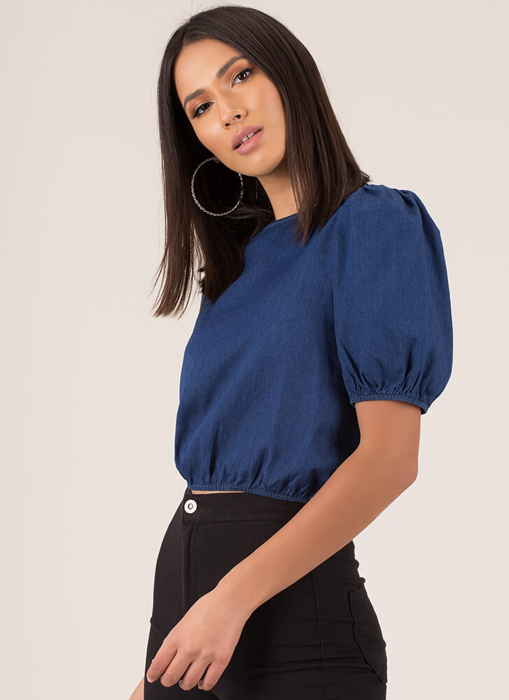 Hey Cutie Puffy Chambray Crop Top DKBLUE