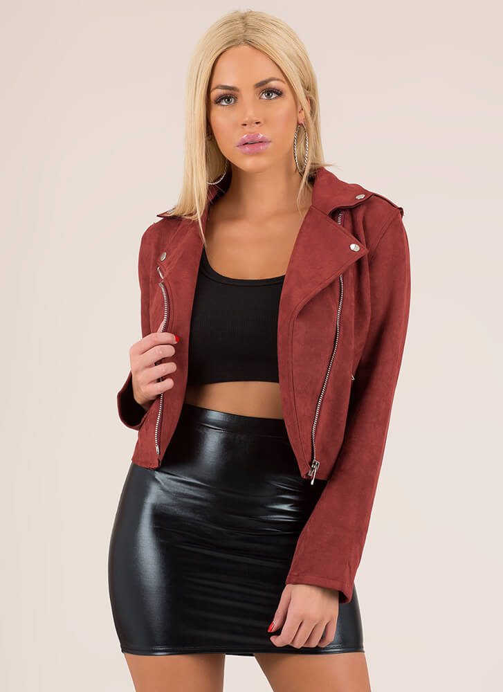Into The Sunset Faux Suede Moto Jacket BROWN