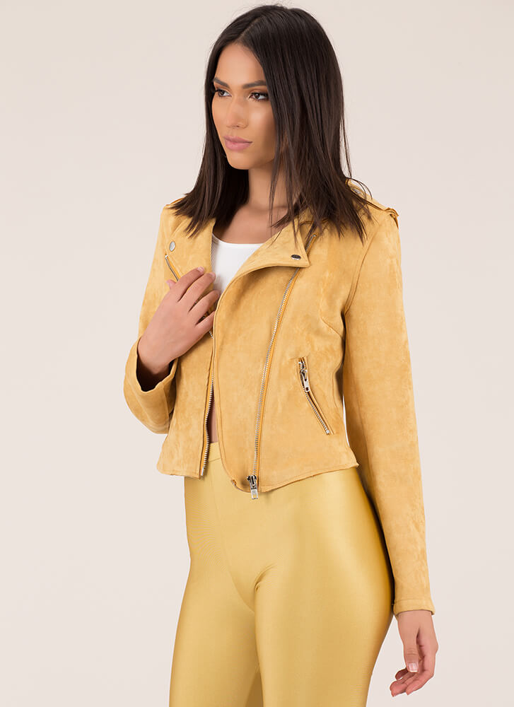 Into The Sunset Faux Suede Moto Jacket MUSTARD