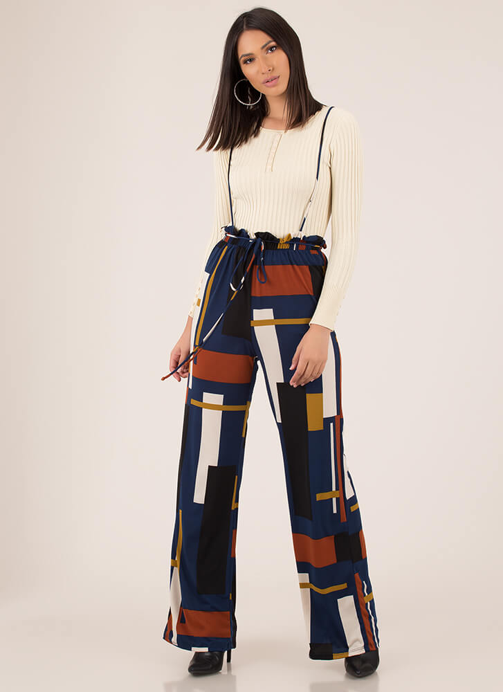 Retro Ready Suspendered Wide-Leg Pants TEAL
