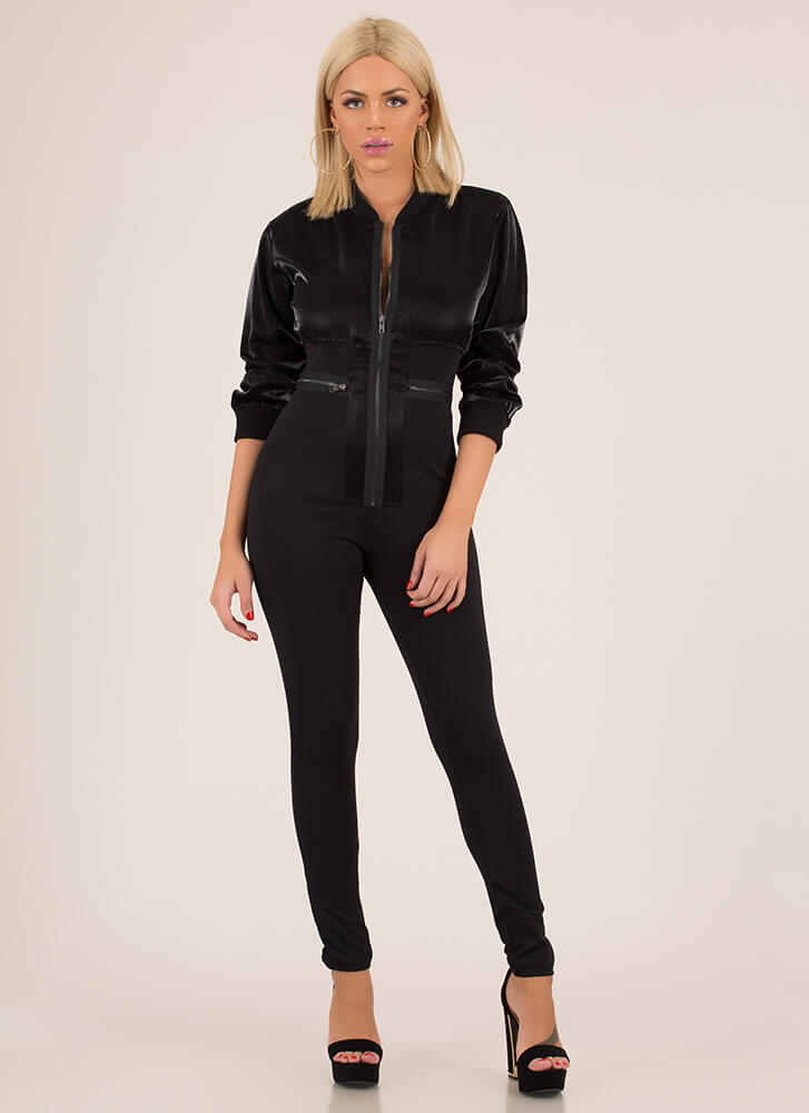 Bomber Dot Com Zip-Front Jumpsuit BLACK