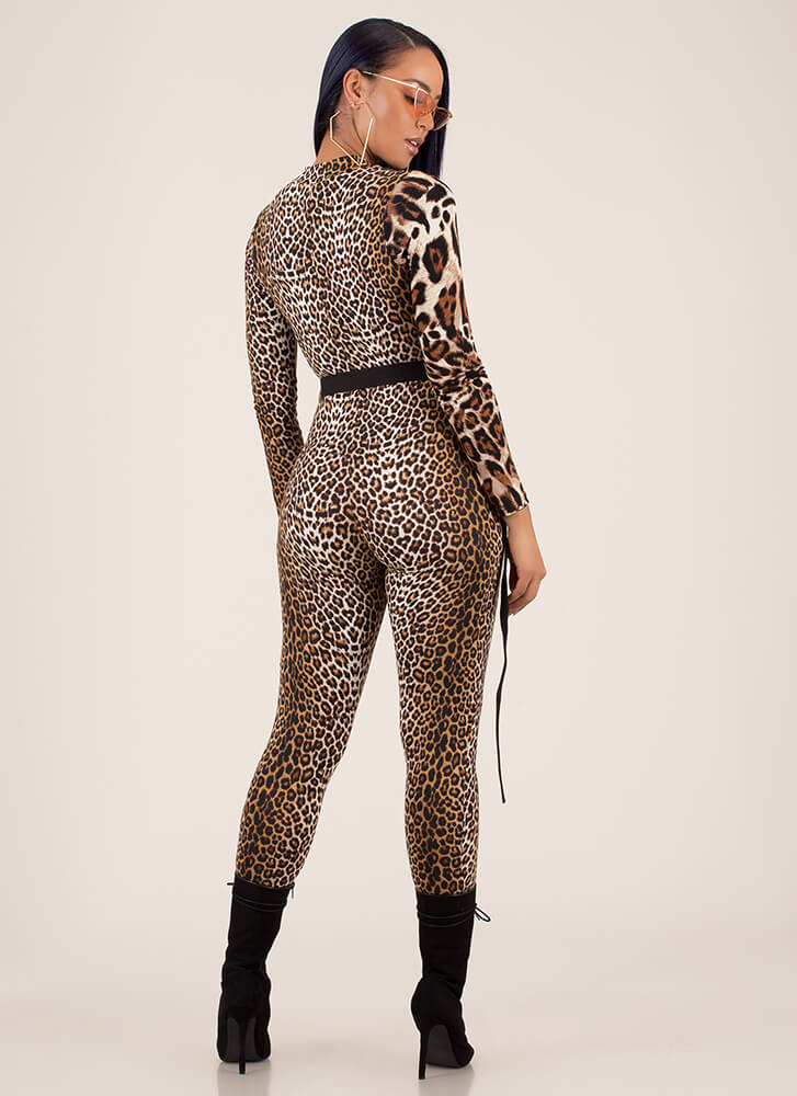 Call Of The Wild Belted Leopard Jumpsuit LEOPARD