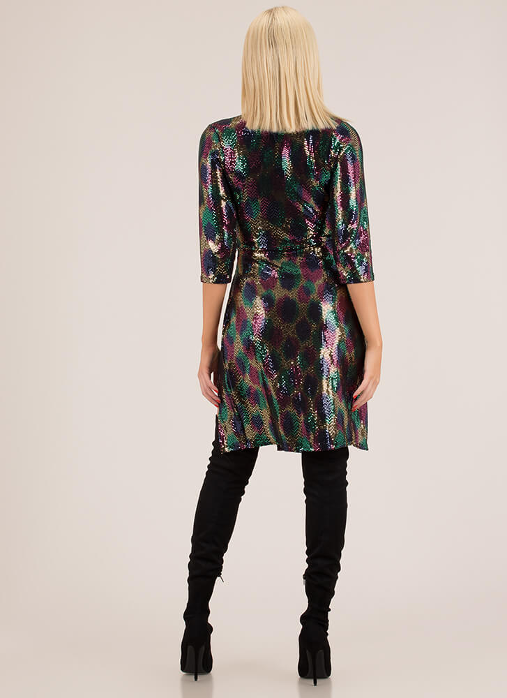 Seeing Spots Sequined Double Slit Dress MULTI