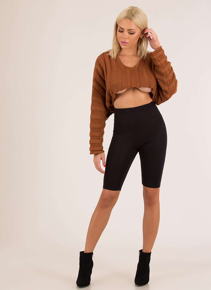 Keep It Short Cropped Rib Knit Sweater BROWN