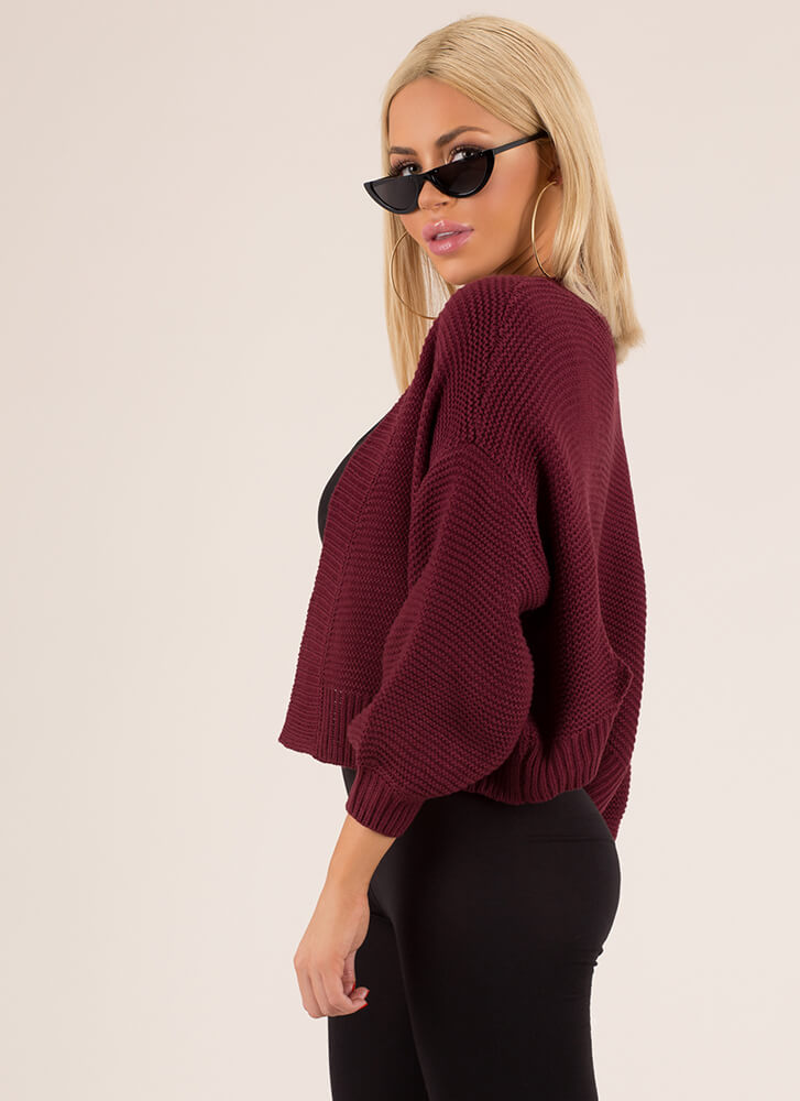 Bring Me With You Knit Cardigan BURGUNDY