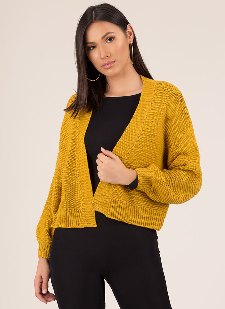 Bring Me With You Knit Cardigan MUSTARD
