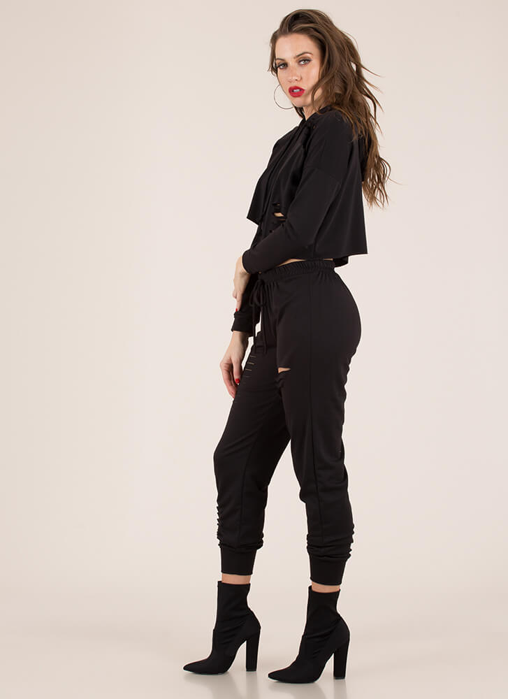 Slits All Good Hoodie And Jogger Set BLACK