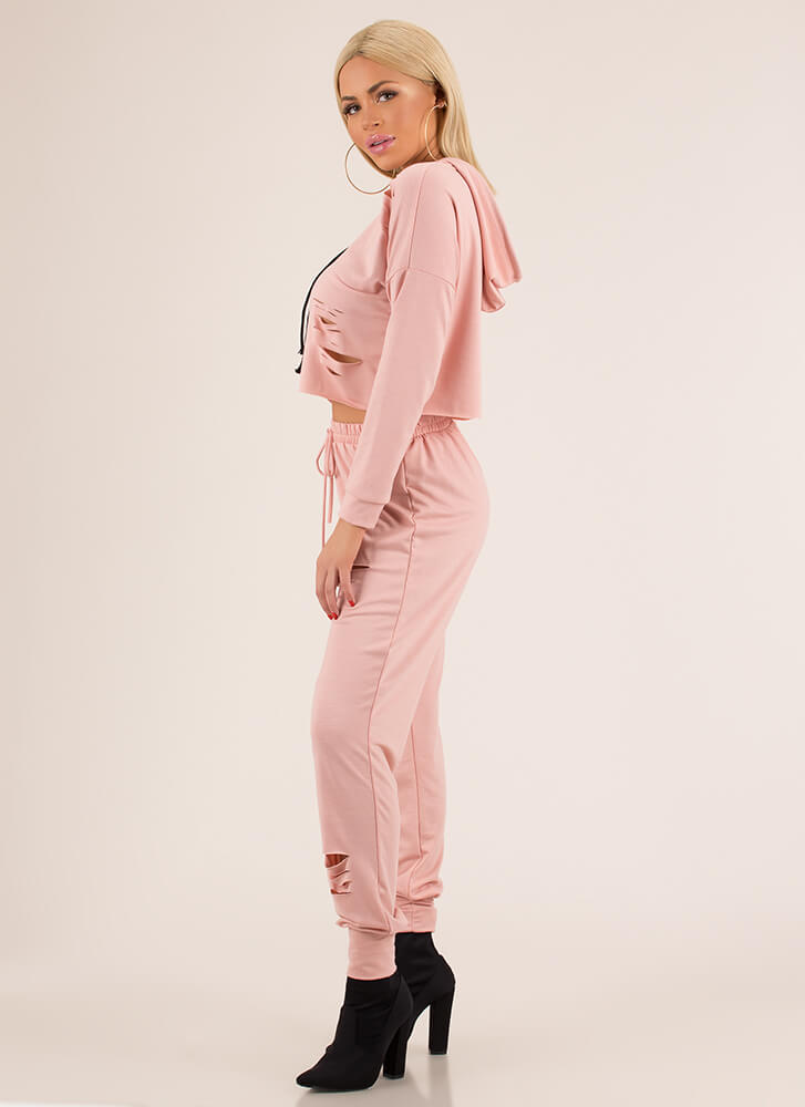 Slits All Good Hoodie And Jogger Set BLUSH