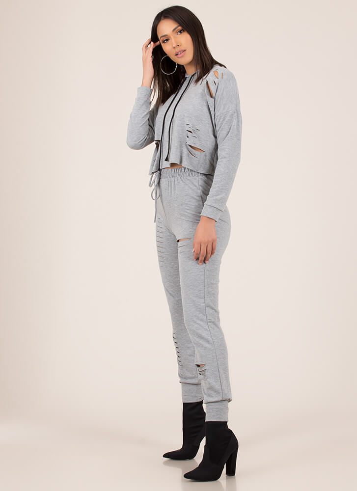 Slits All Good Hoodie And Jogger Set HGREY