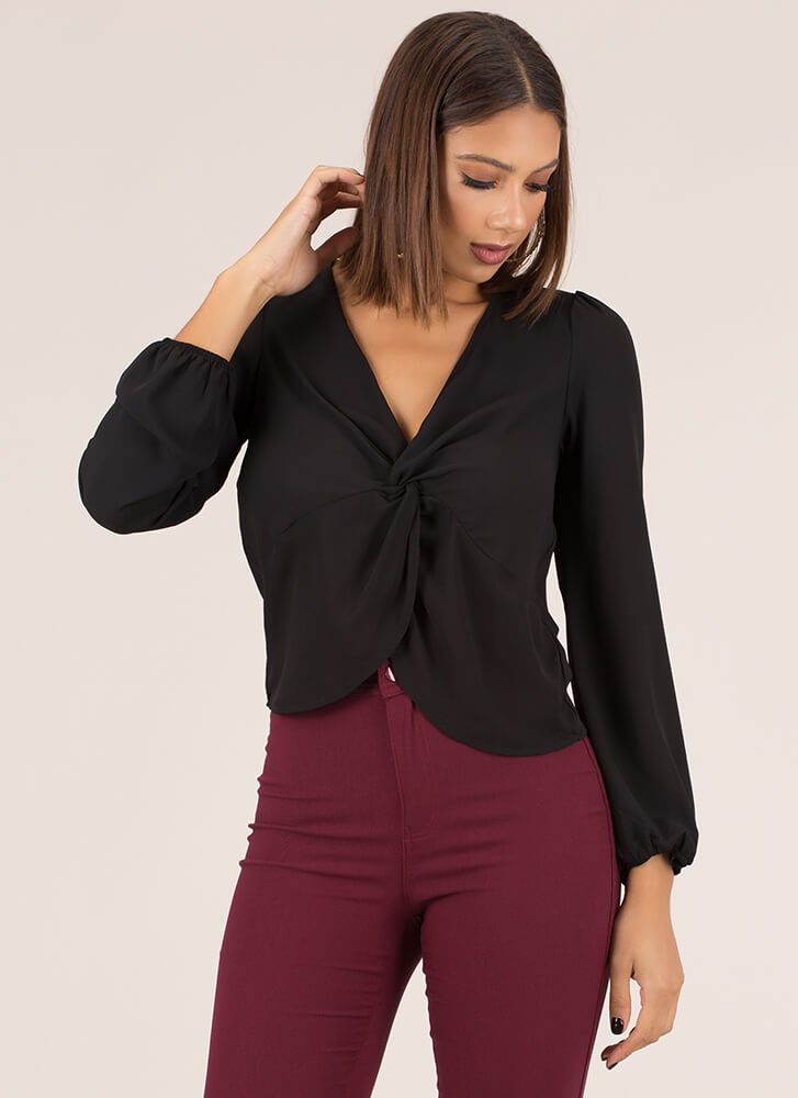 Knot Included Twist-Front Blouse BLACK