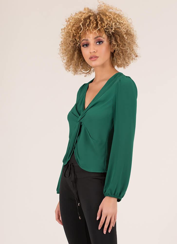 Knot Included Twist-Front Blouse GREEN