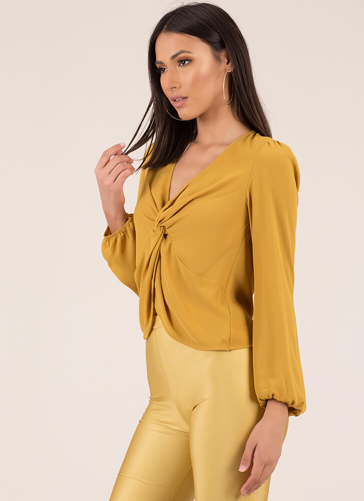 Knot Included Twist-Front Blouse MUSTARD