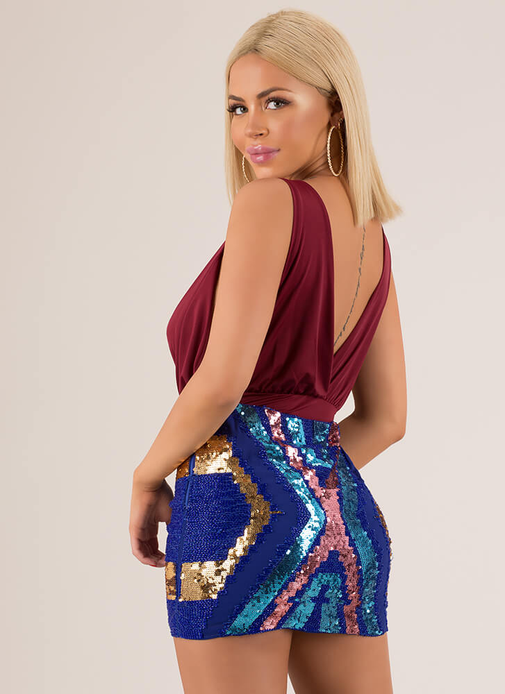 Ready To Party Sequined Miniskirt ROYAL (Final Sale)