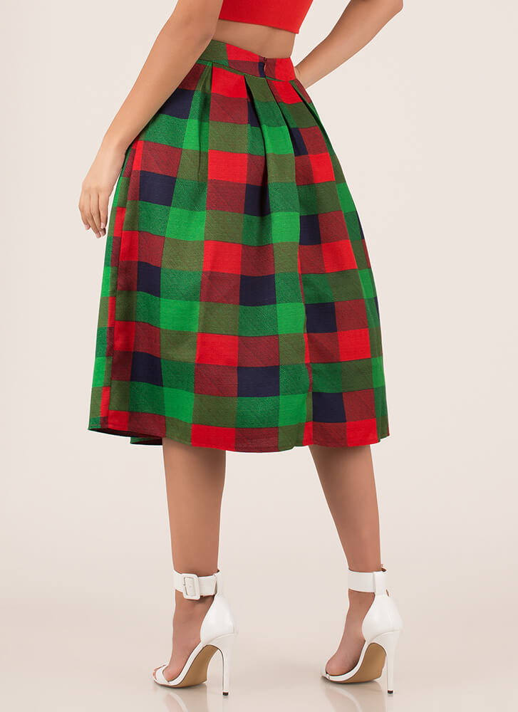 Plaid Flare Pleated Checkered Midi Skirt GREEN