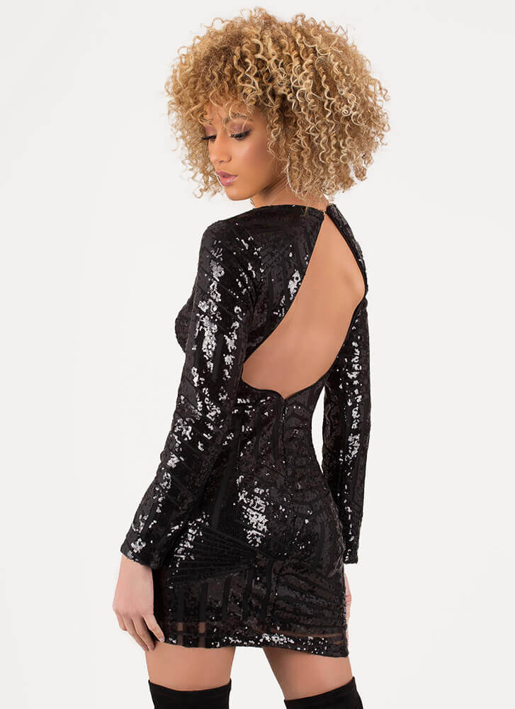 Feel Special Sequined Cut-Out Minidress BLACK