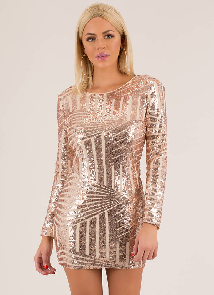 Feel Special Sequined Cut-Out Minidress GOLD