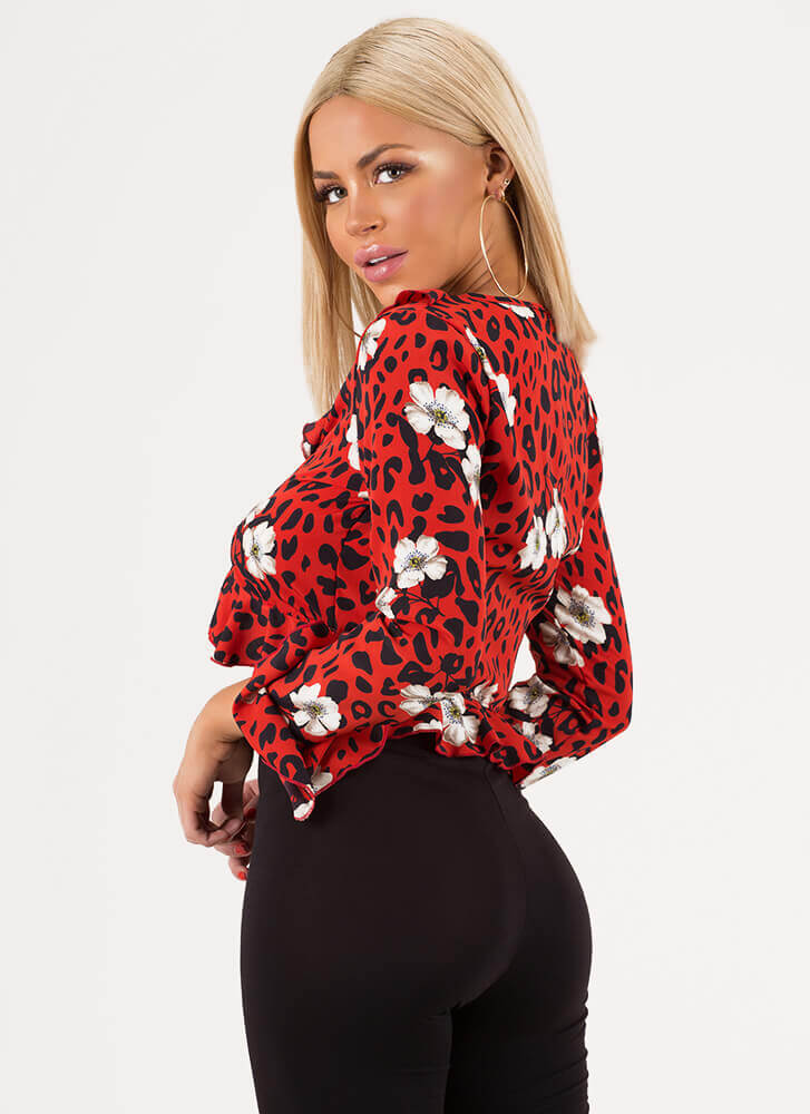 Hit The Spot Floral Leopard Crop Top RED