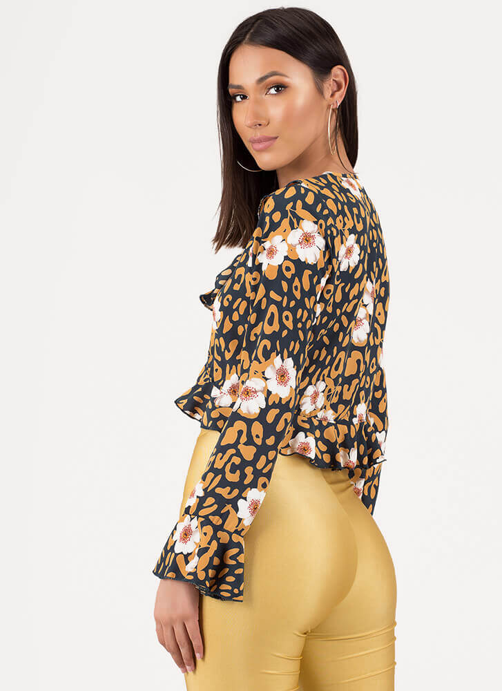 Hit The Spot Floral Leopard Crop Top TEAL