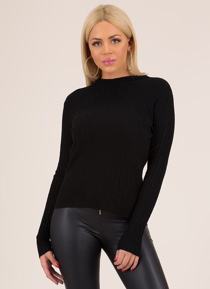 What Wood You Do Ribbed Sweater Top by Go Jane