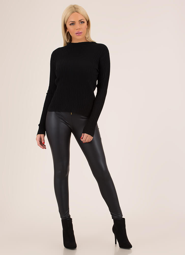 What Wood You Do Ribbed Sweater Top BLACK