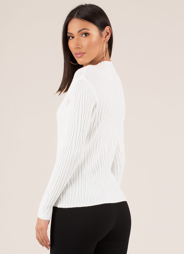 What Wood You Do Ribbed Sweater Top IVORY