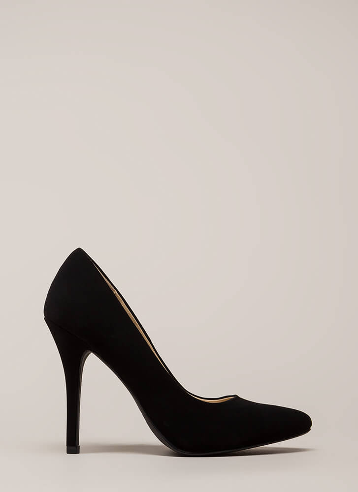 I Have A Date Pointy Faux Nubuck Pumps BLACK (You Saved $13)